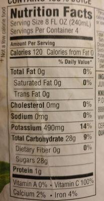 Organic grapefruit juice - Voedingswaarden - en