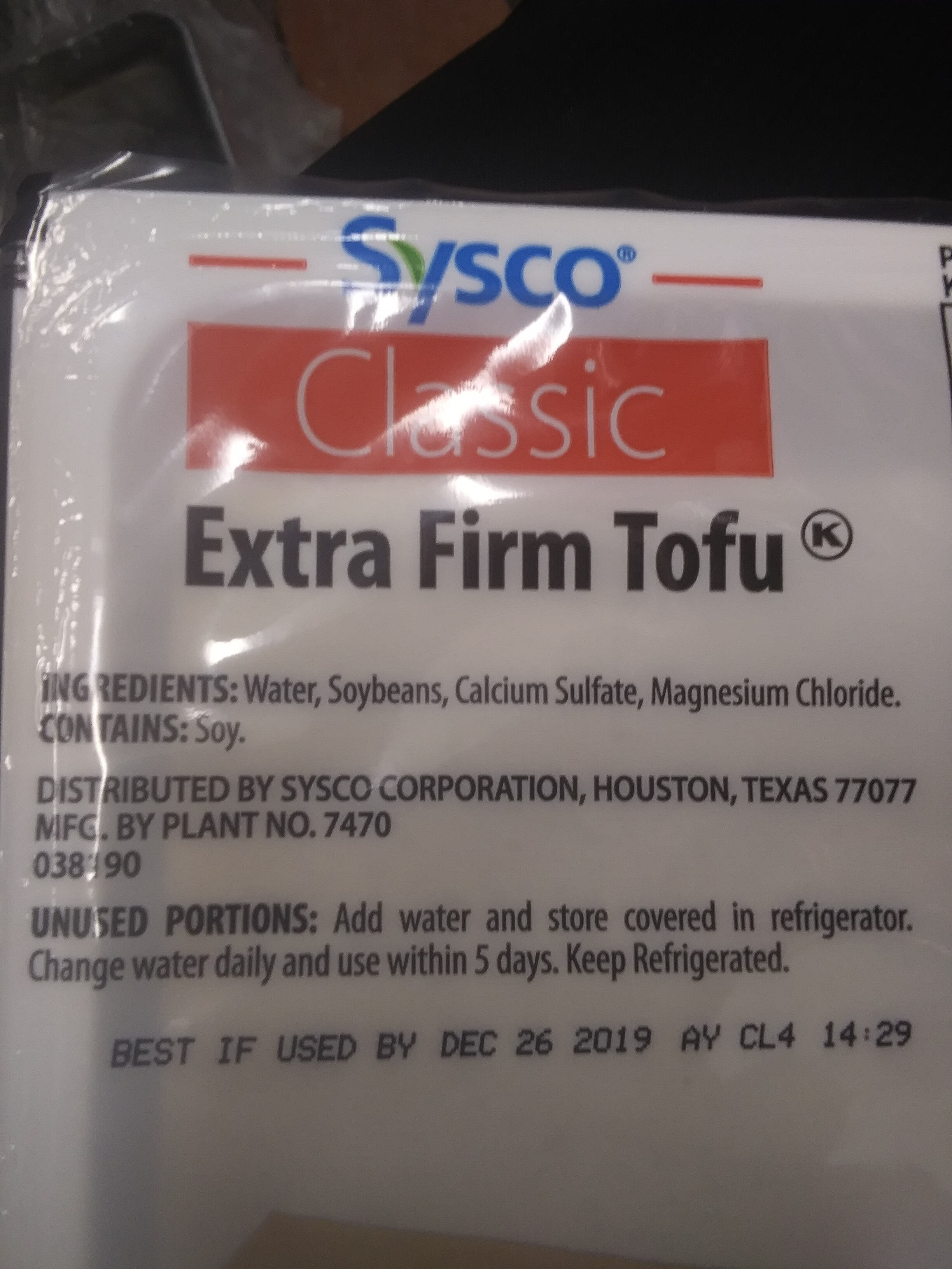 sysco classic extra firm tofu - Ingredients