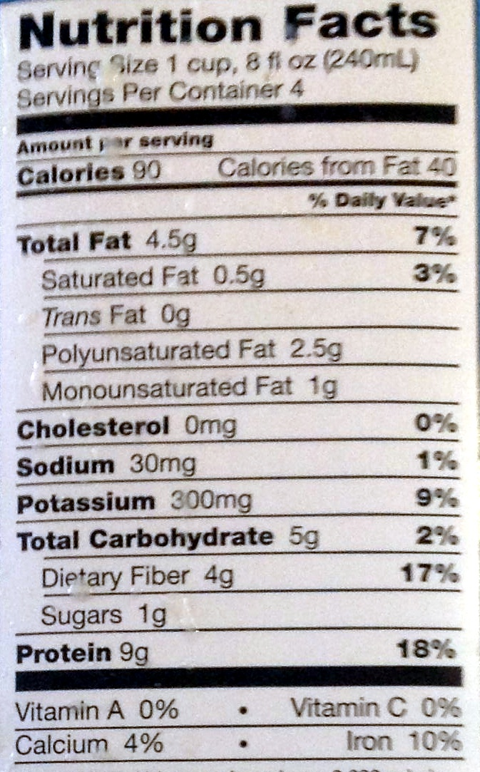 Organic Unsweetened soy milk - Nutrition facts