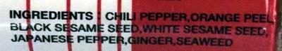 Nanami Togarashi Chili Pepper - Ingrediënten