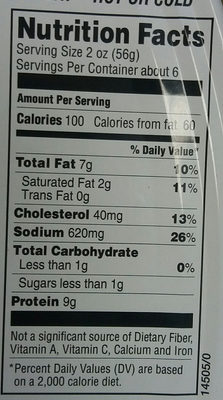 cooked ham - Giá trị dinh dưỡng - en