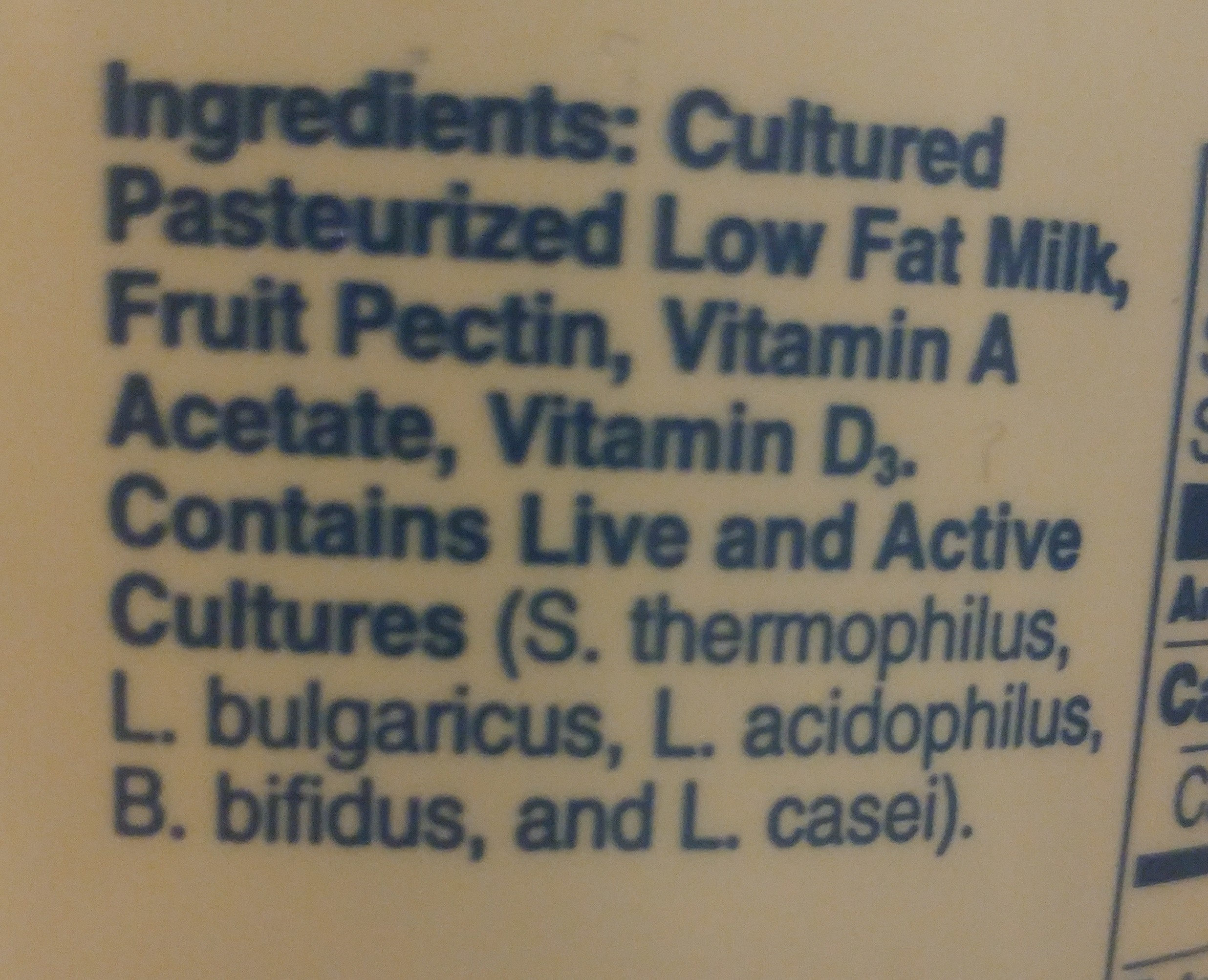 Mountain High Low Fat Plain Yogurt - Ingrédients - en