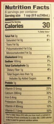 Original unsweetened almondmilk - Nutrition facts