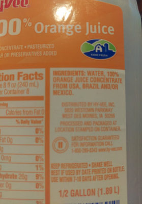 HyVee 100% Orange Juice - Ingredients