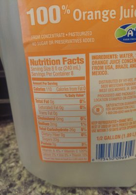HyVee 100% Orange Juice - Nutrition facts