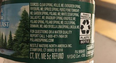 Poland Spring Water Natural Spring - Ingrediënten
