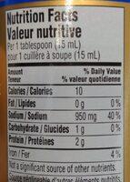 Tamari - Sauce soya bio sans gluten - Informations nutritionnelles - fr