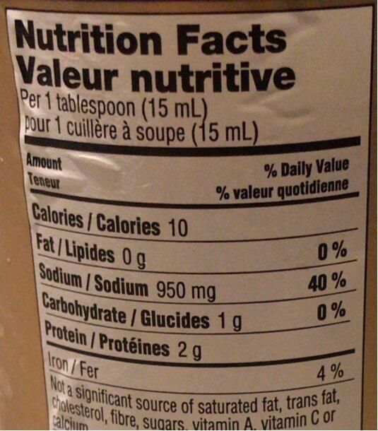 Tamari - Nutrition facts - fr