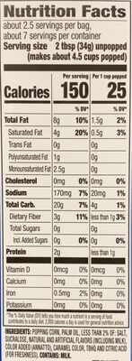 ACT II Buttery Kettle Corn, 8.25 OZ - Nutrition facts - en