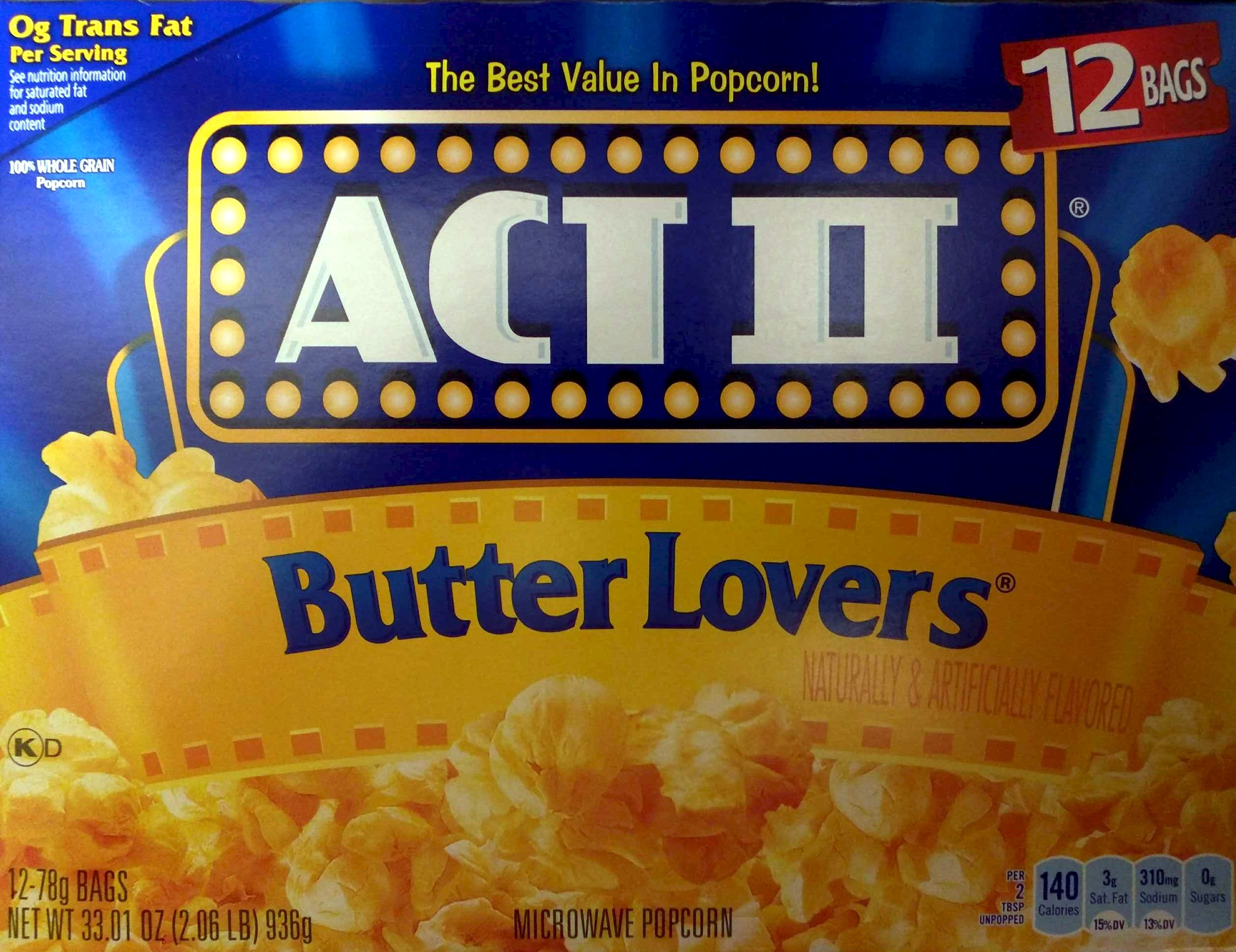 best microwave popcorn butter act ii 12 bags 78 g 30964