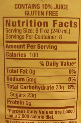 Orangeade - Nutrition facts