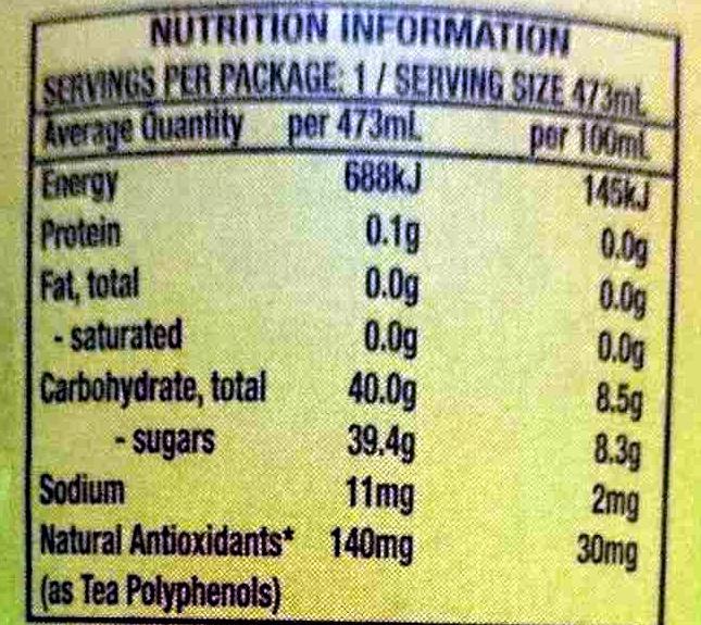 Peach Tea - Nutrition facts - en