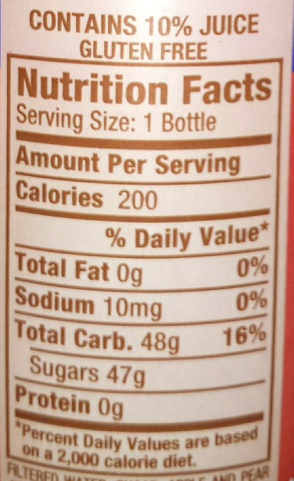 Snapple Apple - Nutrition facts