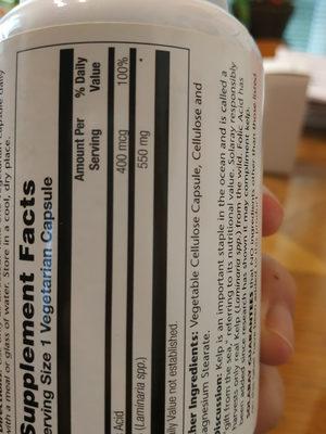 Kelp - Informations nutritionnelles - fr