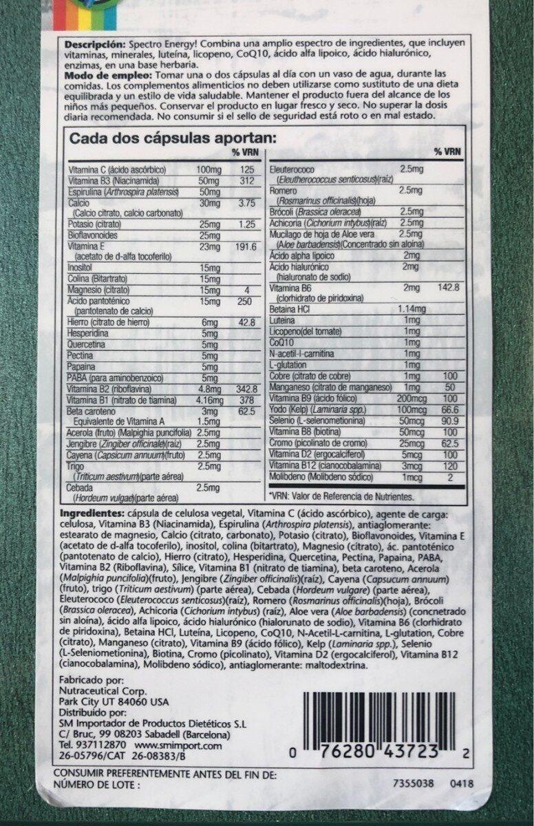 Spectro Energy!MULTI-VITA-MIN - Informations nutritionnelles - es