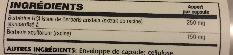 Berbérine, 60 Capsules - Solaray - Ingrédients - fr