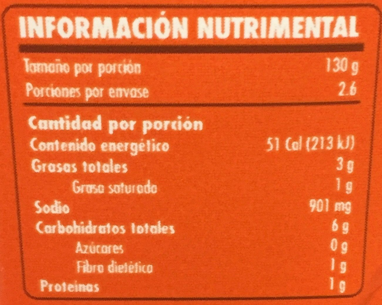 Doña chonita Adobo - Informations nutritionnelles