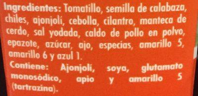 Doña Chonita - Ingrediënten