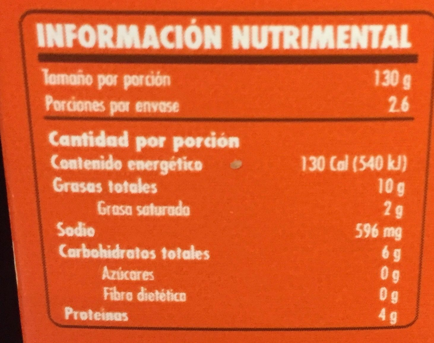 Doña Chonita - Informations nutritionnelles