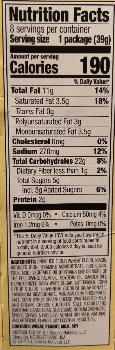 Captain's wafers cream cheese and chive sandwich crackers count - Nutrition facts