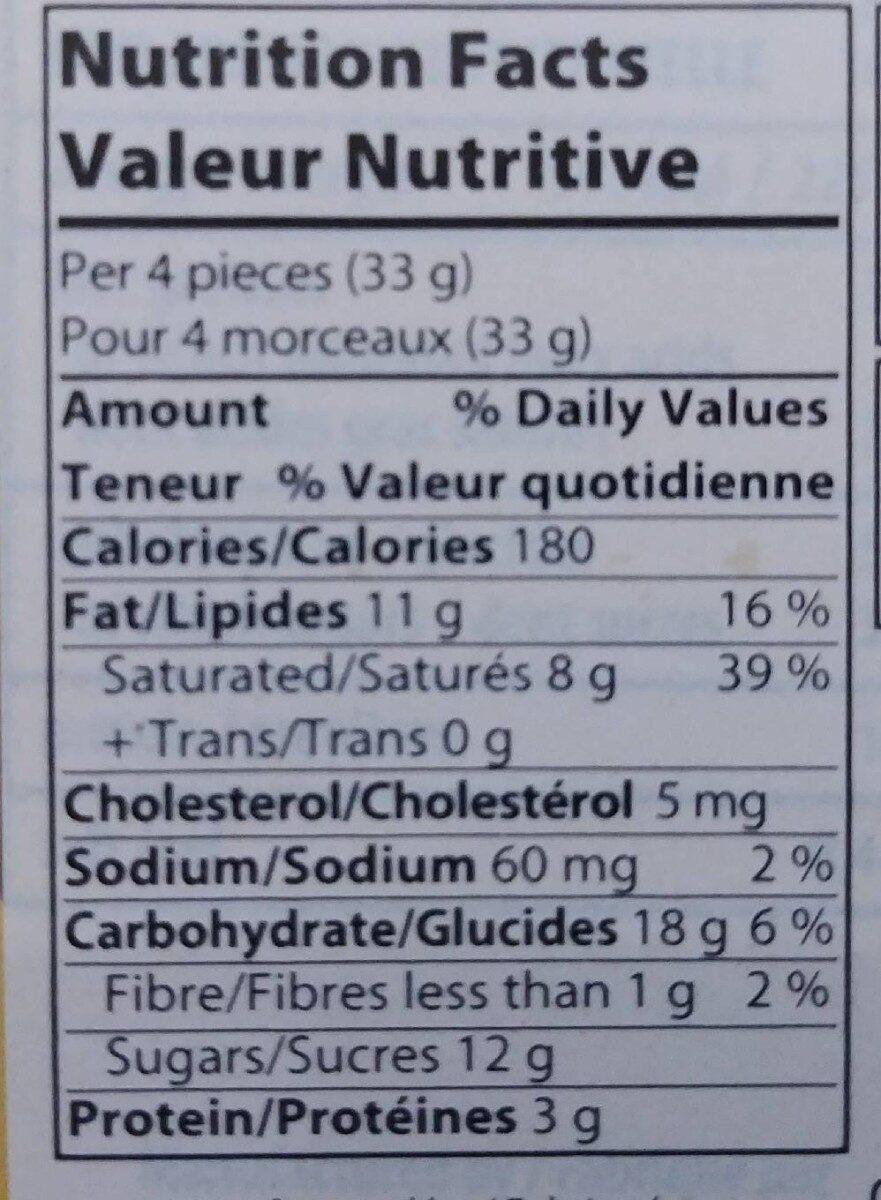 Biscuits chocolat au lait crème de café - Nutrition facts - fr