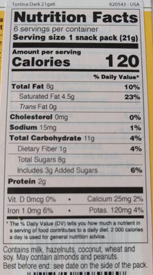 Tortina Dark Hazelnut - Nutrition facts - en
