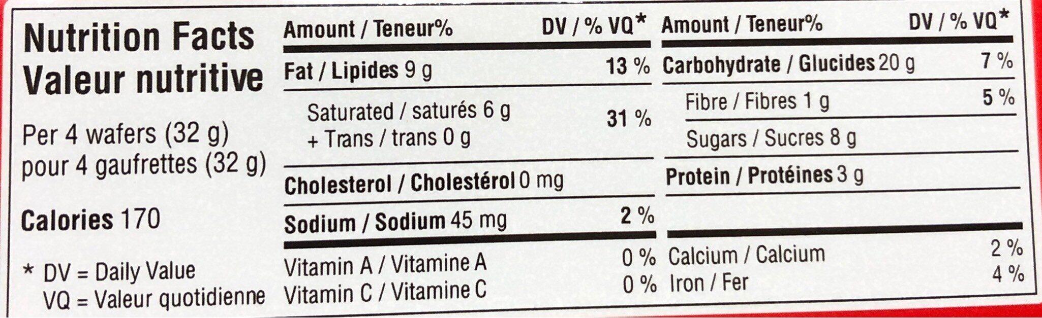 Hazelnut Wafers - Informations nutritionnelles - fr