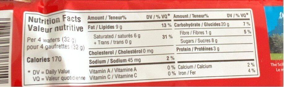 Loaker Hazelnut - Nutrition facts - fr
