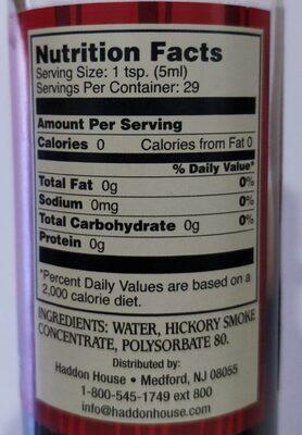 Liquid Smoke, Hickory - Nutrition facts - en
