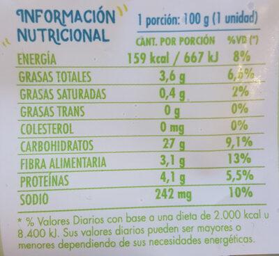 Medallones de quinoa y espinaca - Nutrition facts - es