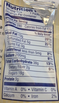 Chocolate Chip - Nutrition facts