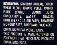 Veggie penne - Ingredients