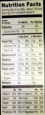Veggie penne - Nutrition facts