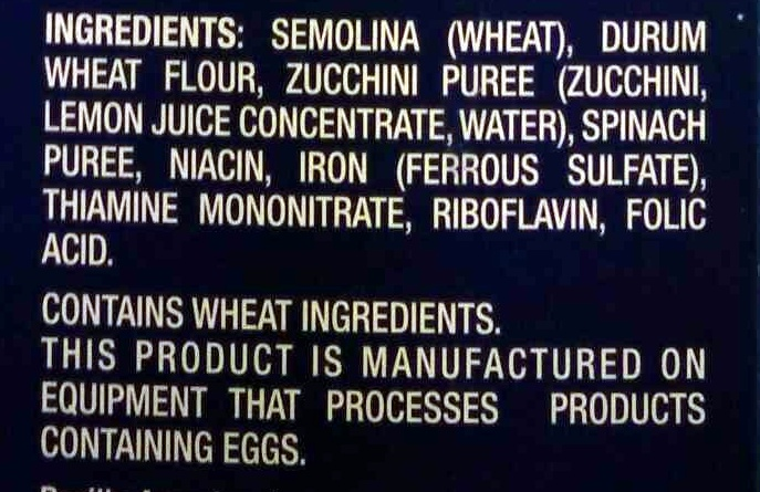 Veggie Rotini - Ingredients