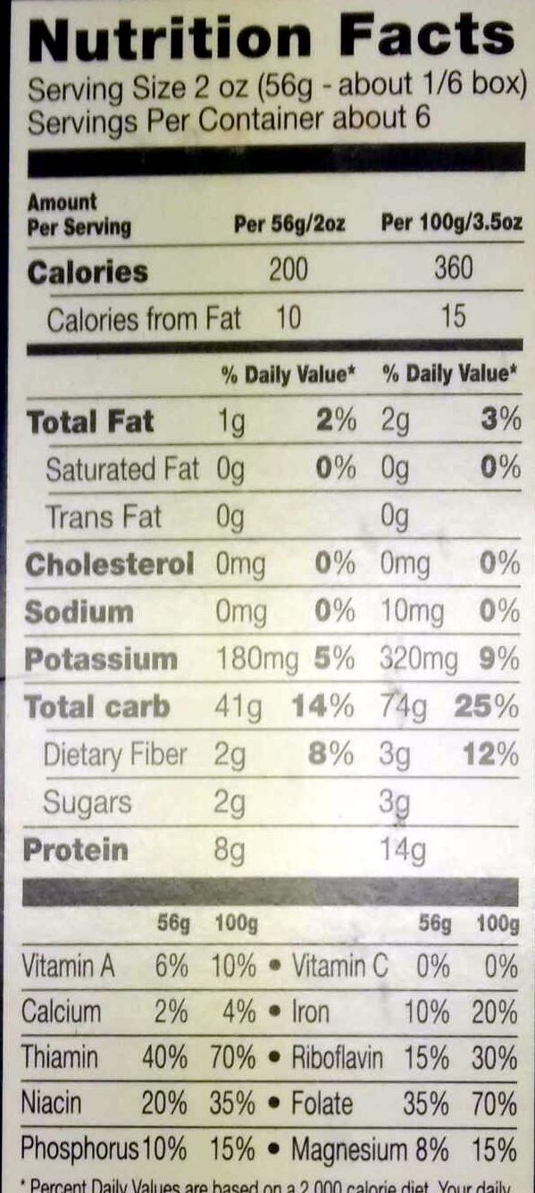 Veggie Rotini - Nutrition facts