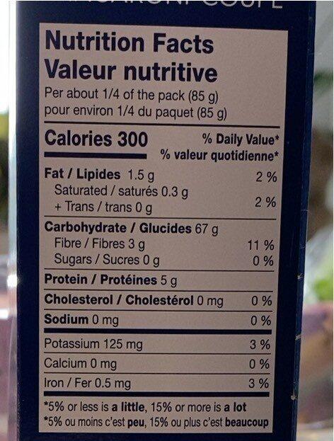 Elbows macaroni coupé - Informations nutritionnelles - fr