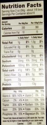 Veggie Elbows - Informations nutritionnelles