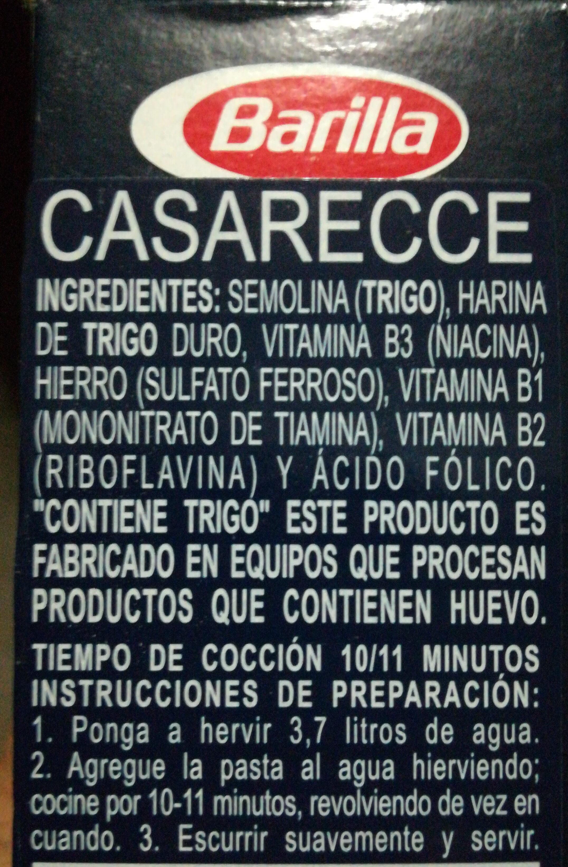 Casarecce - Ingredients - en