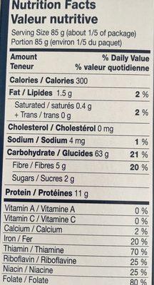 Pâtes DITALI - Informations nutritionnelles