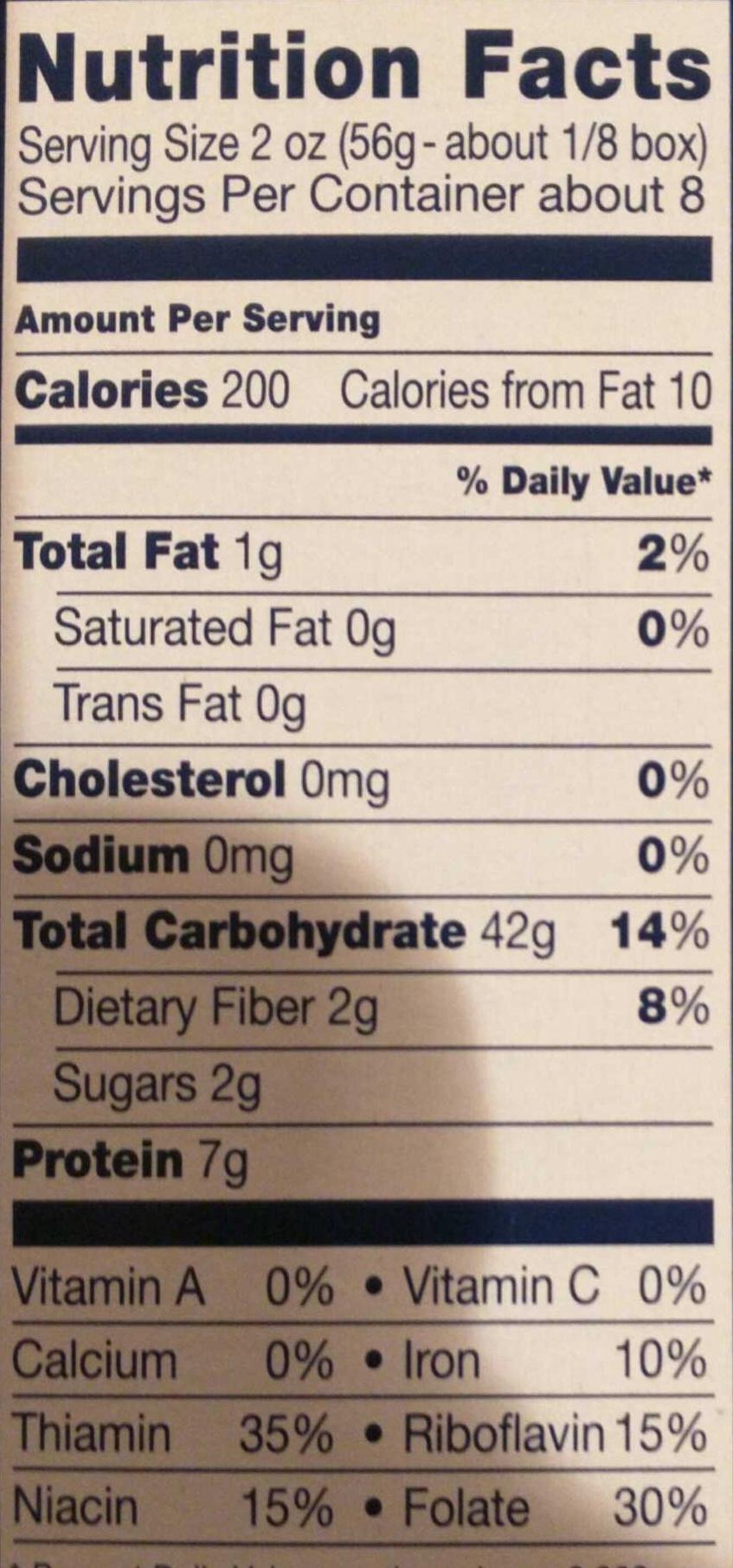 Enriched macaroni product, mezze penne n.369 - Informations nutritionnelles - en