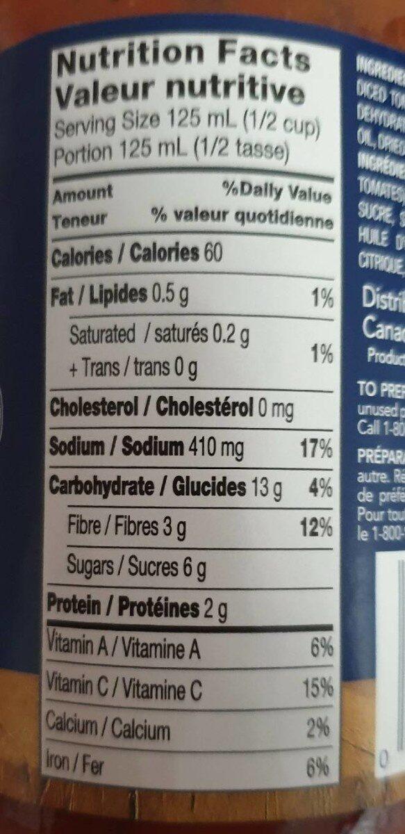 Sauce tomates et basilic - Informations nutritionnelles - fr