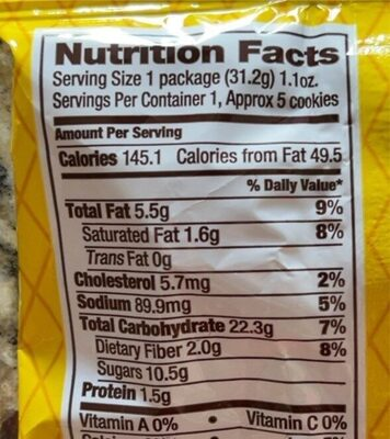 Chocolate chipers - Nutrition facts - en