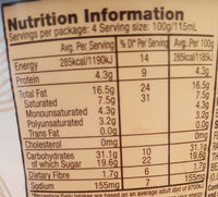 Non Diary Ice Cream - Peanut Butter & Cookies - Nutrition facts