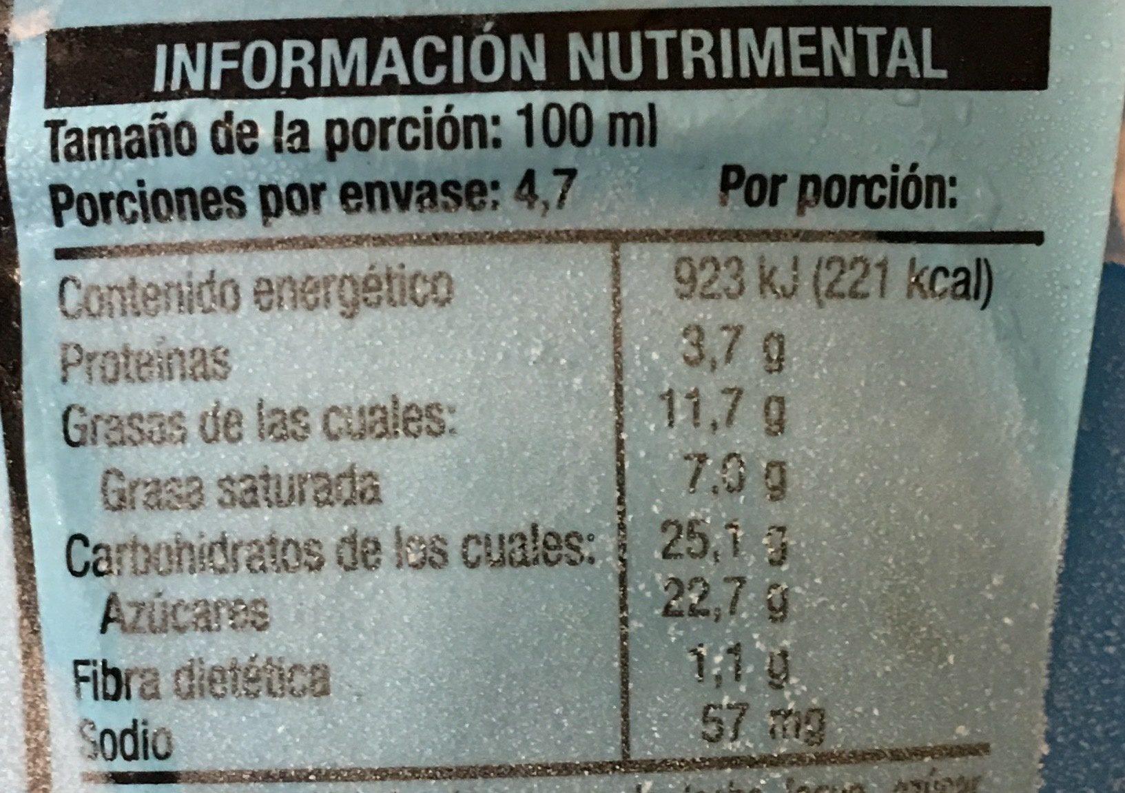 Brownie batter core ice cream - Información nutricional - es