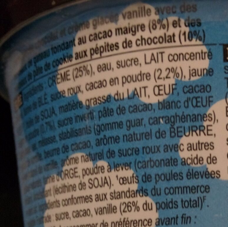 Half Baked - Ingrediënten - fr