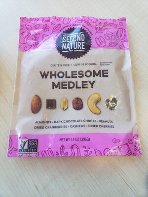 Second Nature, Wholesome Medley, Gently Roasted, Lightly Salted Nuts, Dried Fruits And Dark Chocolate Chunks - Product
