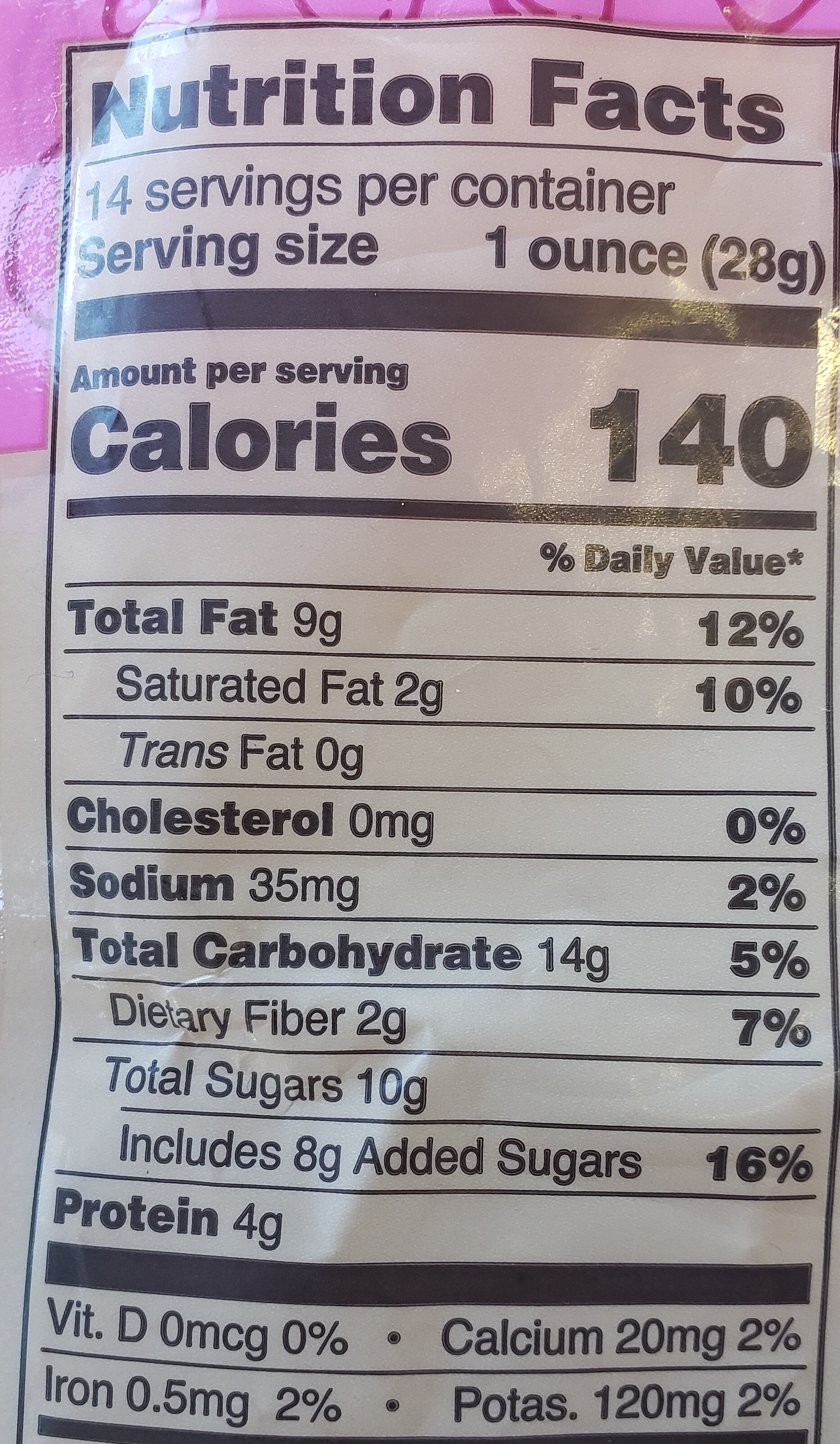 Second Nature, Wholesome Medley, Gently Roasted, Lightly Salted Nuts, Dried Fruits And Dark Chocolate Chunks - Nutrition facts