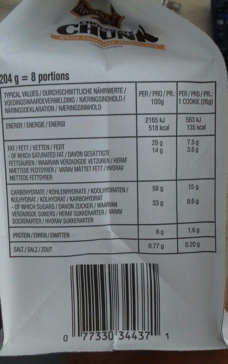 Pepperidge Farm Chocolate Chunk White Chocolate Macadamia - Ingrediënten - fr
