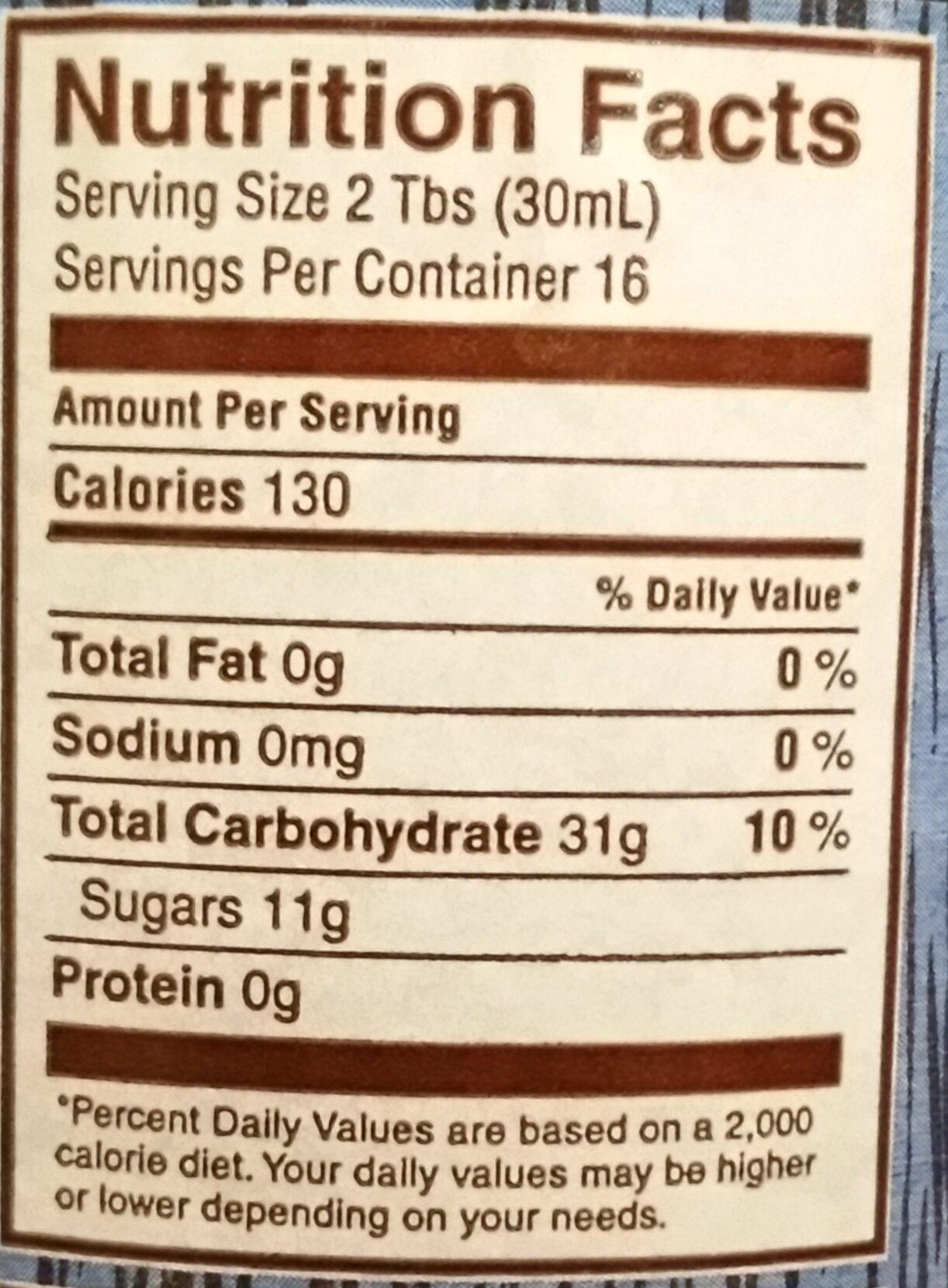 Dutch barrel table syrup - Nutrition facts - en