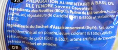 Nouilles instantanées saveur crevettes Yeo's - Ingrédients - fr